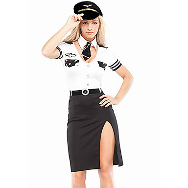 Lentoemäntä Aikuisten Naisten Mekot Cosplay-Asut Asut Käyttötarkoitus Elastaani Puuvilla Masquerade Leninki Korsetit Hat