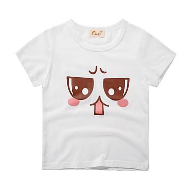 baratos Camisas para Meninos-Infantil Para Meninos Básico Estampado Manga Curta Algodão Camiseta Cinzento