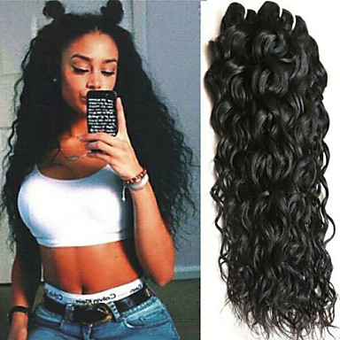 baratos Extensões de Cabelo Natural-3 pacotes Cabelo Brasileiro Onda de Água 100% Remy Hair Weave Bundles Cabelo Humano Ondulado Extensor Extensões de Cabelo Natural 8-28 inch Côr Natural Tramas de cabelo humano Segurança Clássico