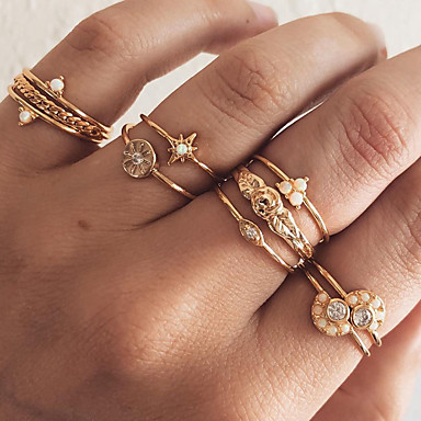 billige Motering-Dame Statement Ring / Knokering / Ring Set Kubisk Zirkonium / Syntetisk Opal 10pcs Gull Fuskediamant / Legering Halvsirkel Enkel / Koreansk Gave / Daglig / Gate Kostyme smykker / Stjerne