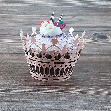 abordables Support de Cadeaux pour Invités-Rondes Papier nacre Titulaire de Faveur avec Ondulé Caissettes pour Cupcakes et Boîtes - 50