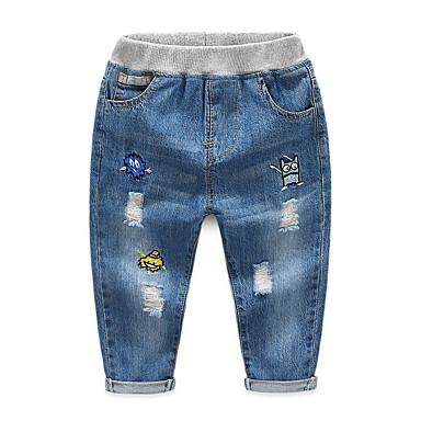 baratos Jeans Para Meninos-Infantil Para Meninos Básico Moda de Rua Sólido Buraco rasgado Patchwork Algodão Jeans Azul