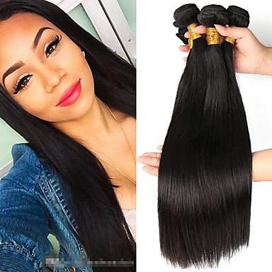3 zestawy Włosy brazylijskie Prosta Zestawy w 100% Remy Weave Fale w naturalnym kolorze Pakiet włosów Pakiet One Solution 8-28 inch Kolor naturalny Ludzkie włosy wyplata Cosplay Kreatywne Klasyczny