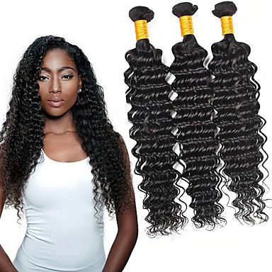 voordelige Weaves van echt haar-6 bundels Braziliaans haar Diepe Golf Niet verwerkt Menselijk Haar Menselijk haar weeft Verlenging Bundle Hair 8-28 inch(es) Natuurlijke Kleur Menselijk haar weeft Geurvrij Zacht Hot Sale Extensions