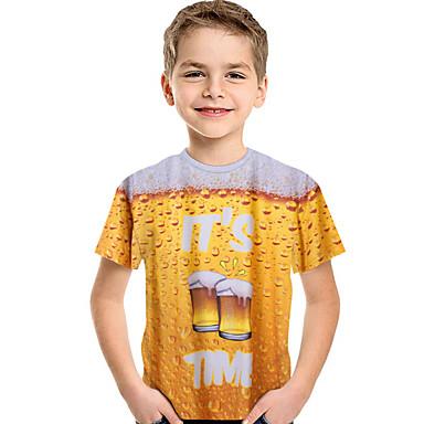 baratos Camisas para Meninos-Infantil Bébé Para Meninos Activo Básico Estampado Estampado Manga Curta Camiseta Amarelo