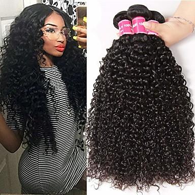 voordelige Weaves van echt haar-3 bundels Braziliaans haar Kinky Curly 100% Remy haarweefselbundels Menselijk haar weeft Bundle Hair Extentions van mensenhaar 8-28 inch Natuurlijke Kleur Menselijk haar weeft Geurvrij nieuwe