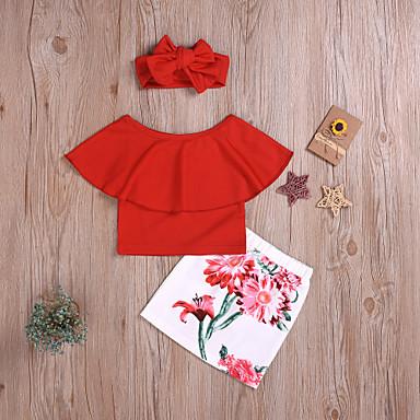 Χαμηλού Κόστους Ρούχα για Κορίτσια-Παιδιά Κοριτσίστικα Κομψό στυλ street / Εκλεπτυσμένο Μονόχρωμο / Στάμπα Φιόγκος / Στάμπα Αμάνικο Κανονικό Κανονικό Βαμβάκι Σετ Ρούχων Ρουμπίνι