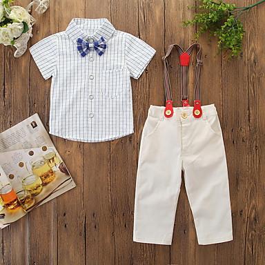 저렴한 아기 의류 남아 신발 세트-아가 남아 활동적 / 베이직 체크무늬 리본 / 프린트 짧은 소매 보통 면 의류 세트 / 토들러