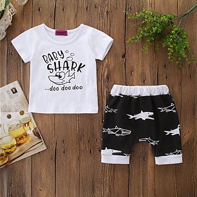 povoljno Odjeća za bebe Za dječake-Dijete Dječaci Aktivan / Osnovni Print Print Kratkih rukava Regularna Pamuk Komplet odjeće Obala / Dijete koje je tek prohodalo