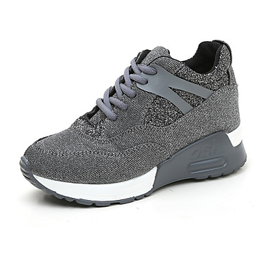 povoljno Ženske cipele-Žene Poliester Proljeće ljeto Sneakers Ravna potpetica Crn / Sive boje
