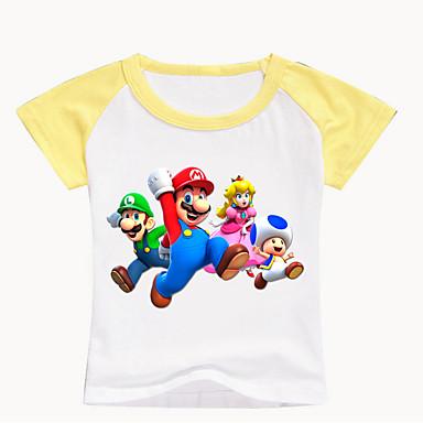 baratos Camisas para Meninos-Infantil Bébé Para Meninos Básico Estampado Estampado Manga Curta Algodão Camiseta Preto