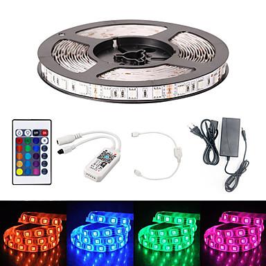 abordables Bandes Lumineuses LED-brelong smart wifi smd 5050 lumière avec rvb 24keys 5m 300led ip65 pas étanche dc12v avec 5a puissance eu