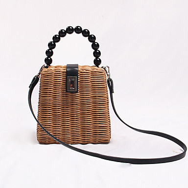cheap Going to the beach-Women's Rivet Top Handle Bag Straw Solid Color Almond / Fall & Winter