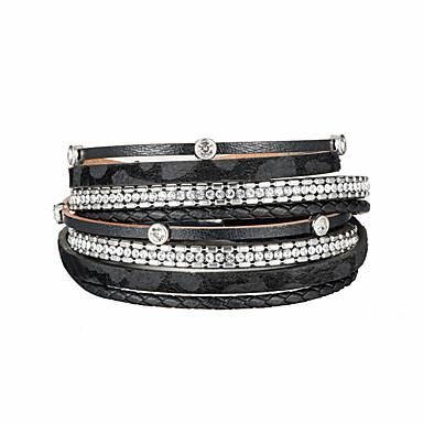 abordables Bracelet-Bracelets en cuir Femme Classique petit diamant Blanc Cuir Strass Imaginer Punk Branché énorme Bracelet Bijoux Noir Gris Café Rond pour Plein Air Soirée