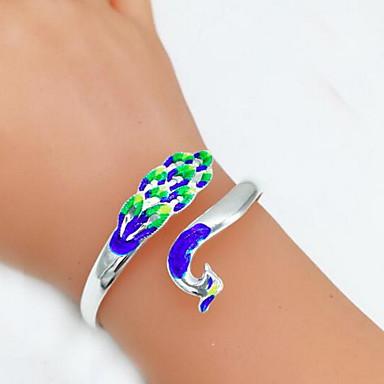 abordables Bracelet-Bracelet Jonc Femme Classique Paon Branché Mode Bracelet Bijoux Argent Bleu pour Cadeau Quotidien