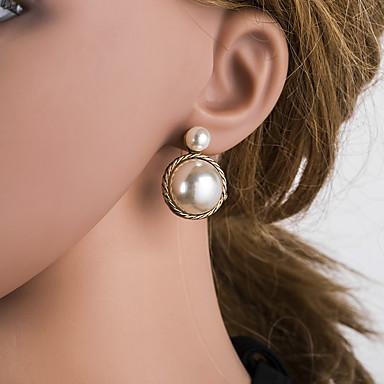 billige Moteøreringer-Dame Gull Dråpeøreringer geometriske Europeisk Perle Sølv øredobber Smykker Gull Til Daglig 1 par