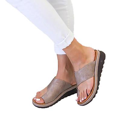voordelige Damespantoffels & slippers-Dames PU Zomer Informeel / minimalisme Slippers & Flip-Flops Sleehak Ronde Teen Geel / Zilver / Luipaard