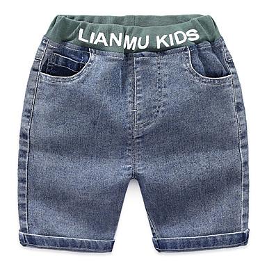 baratos Jeans Para Meninos-Infantil Para Meninos Básico Moda de Rua Estampado Retalhos Patchwork Estampado Algodão Jeans Azul