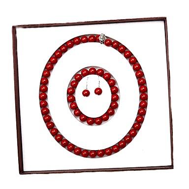 baratos Bijuteria de Mulher-conjunto de jóias clássico pérola de água doce vermelho - pérola alegria moda, elegante, luxo vermelho para evento / festa das mulheres do partido