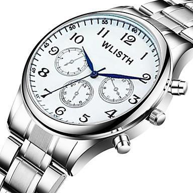 baratos Relógios Homem-Homens Relógios de aço Quartzo Aço Inoxidável Prata 30 m Impermeável Analógico Clássico Casual - Prata / Black Prateado / Branco Um ano Ciclo de Vida da Bateria
