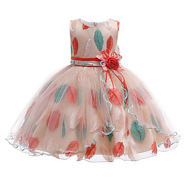 Χαμηλού Κόστους Φορέματα για κορίτσια-Παιδιά / Νήπιο Κοριτσίστικα Ενεργό / χαριτωμένο στυλ Φλοράλ Κεντητό Αμάνικο Ως το Γόνατο Φόρεμα Πράσινο του τριφυλλιού