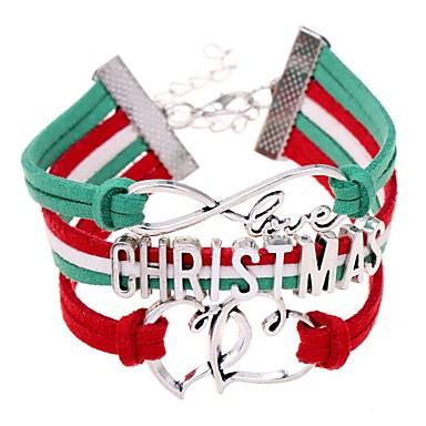 abordables Bracelet-Bracelet ID Femme Tressé Cœur Lettre Gros Fantaisie Mode Bracelet Bijoux Rouge Irrégulier pour Noël Cadeau