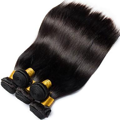 povoljno Perike i ekstenzije-6 paketića Malezijska kosa Ravan kroj 100% Remy kose tkanja Bundle Ljudske kose plete Bundle kose Jedan Pack Solution 8-28 inch Prirodna boja Isprepliće ljudske kose Život Nježno Jednostavan dressing