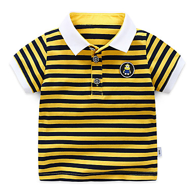 baratos Camisas para Meninos-Infantil Para Meninos Básico Moda de Rua Listrado Retalhos Patchwork Manga Curta Algodão Camiseta Verde