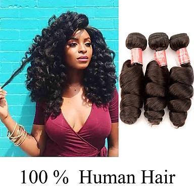voordelige Weaves van echt haar-3 bundels Indiaas haar Los golvend 100% Remy haarweefselbundels Menselijk haar weeft Bundle Hair Extentions van mensenhaar 8-28 inch Natuurlijke Kleur Menselijk haar weeft Creatief Klassiek Cool