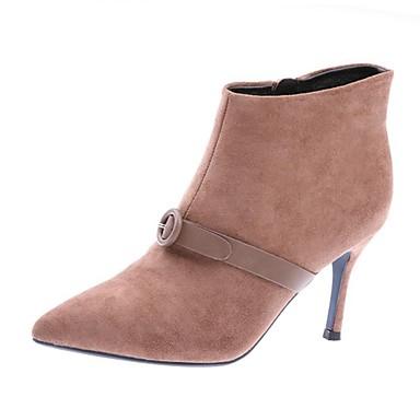 povoljno Ženske čizme-Žene Čizme Stiletto potpetica Krakova Toe Brušena koža Čizme gležnjače / do gležnja Ležerne prilike Proljeće ljeto / Jesen zima Dusty Rose / Crvena / Crn