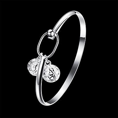baratos Bangle-Mulheres Bracelete Pulseira com Pingentes Com Corte Precioso Clássico Básico Cobre Pulseira de jóias Prata Para Diário Trabalho / Prata Chapeada