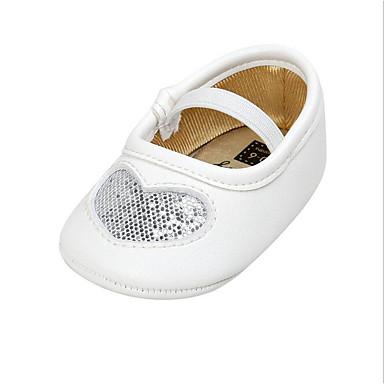baratos Para Crianças de 0-9 Meses-Para Meninas Sintéticos Rasos Crianças (0-9m) Sapatos para Daminhas de Honra Prateado / Vermelho / Rosa claro Primavera / Verão