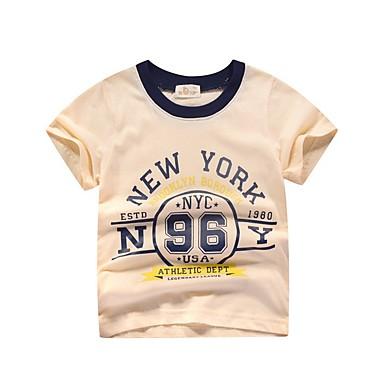 baratos Camisas para Meninos-Infantil Para Meninos Básico Estampado Manga Curta Algodão Camiseta Branco