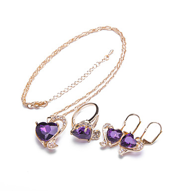 31b16d170 Women's Purple Black Green Cubic Zirconia Two tone Jewelry Set 18K Gold  Plated, 18K Gold Sweet Heart, Heart, Lucky Dainty, Luxury, European, Fashion,  ...