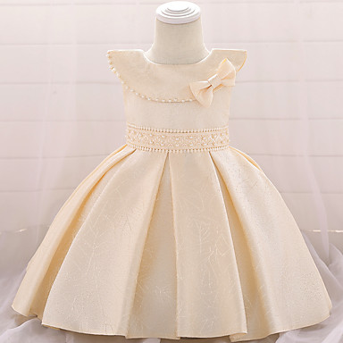 3b5a41e5327 Baby Girls  Active   Basic Solid Colored Beaded   Bow Sleeveless  Knee-length Cotton   Polyester Dress Blushing Pink
