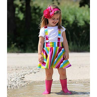 رخيصةأون ملابس الرضع-مجموعة ملابس كم قصير قوس قزح للفتيات طفل