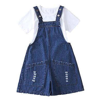 baratos Conjuntos para Meninas-Infantil Para Meninas Activo Básico Sólido Com Corte Manga Curta Curto Algodão Conjunto Azul
