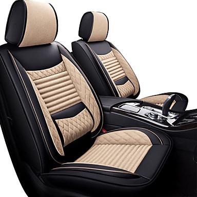 voordelige Auto-interieur accessoires-ademende schattige cartoon autostoelkussens beige / grijs / zwart / bruin pu leer / synthetische vezel voor vijf jaar universele zitplaatsen