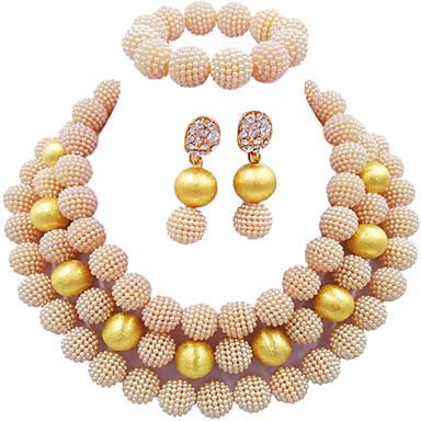 9aad6e5f0a29 Mujer Multi capa Conjunto de joyas Perla Bola Moda