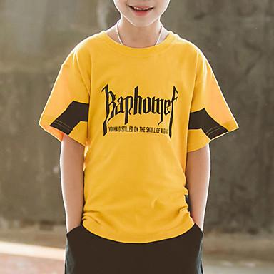baratos Camisas para Meninos-Infantil Para Meninos Básico Retalhos Patchwork Estampado Manga Curta Algodão Camiseta Branco