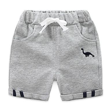 baratos Calças para Meninos-Infantil Para Meninos Activo Básico Sólido Estampado Bordado Algodão Shorts Azul Marinha