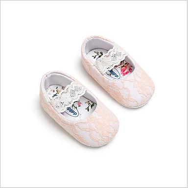 baratos Para Crianças de 0-9 Meses-Para Meninas Algodão Rasos Crianças (0-9m) Sapatos para Daminhas de Honra Branco / Cinzento / Rosa claro Primavera / Verão
