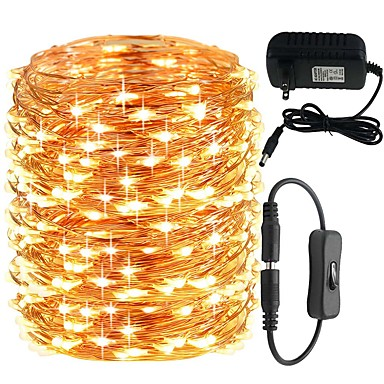 voordelige Huis & Tuin-KWB 20M Verlichtingsslingers 200 LEDs 1 DC-kabels / 1 X 12V 3A-voeding Warm wit / Wit / Blauw Schattig / Nieuw Design / Bruiloft 100-240 V 1 set