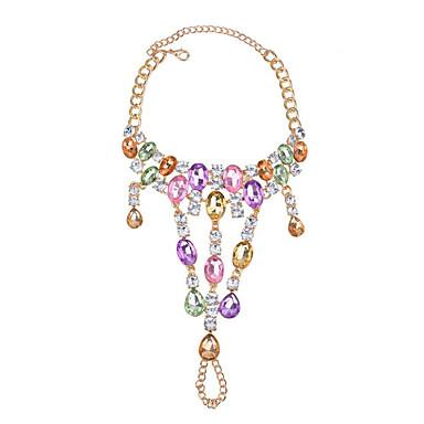 בגדי ריקוד נשים צבעים מרובים צמיד לקרסול גיאומטרי הצהרה פאר ארופאי יהלום מדומה תכשיט לקרסול תכשיטים שחור / כסף / סגול עבור יומי