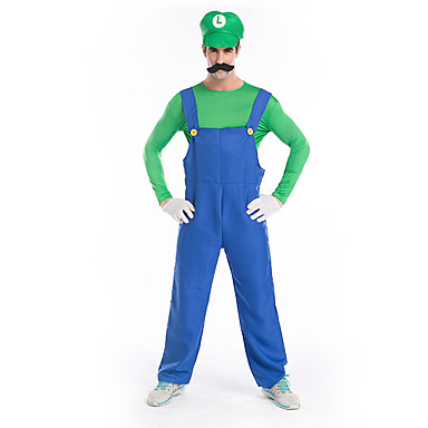 מדים Mario תחפושות קוספליי כובעים נשף מסכות תחפושות מבוגרים בגדי ריקוד גברים מסיבה / ערב חג ליל כל הקדושים חג המולד האלווין (ליל כל הקדושים) קרנבל פסטיבל / חג polyster אודם / ירוק זכר נקבה