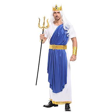מלך הים פוסידון תחפושות קוספליי נשף מסכות מבוגרים בגדי ריקוד גברים קוספליי חג ליל כל הקדושים חג המולד האלווין (ליל כל הקדושים) קרנבל פסטיבל / חג בד כחול תחפושות קרנבל טלאים