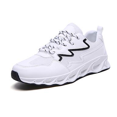 בגדי ריקוד גברים אור סוליות PU / בד גמיש אביב קיץ ספורטיבי נעלי אתלטיקה נושם לבן / שחור / שחור ולבן