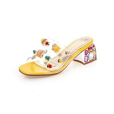 povoljno Ženske cipele-Žene Sandale Heterotipski peta Otvoreno toe Svjetlucave šljokice PU Klasik Ljeto Bijela / Badem