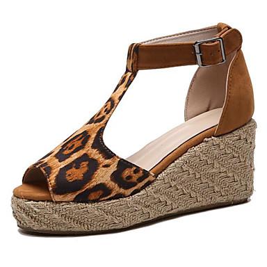 povoljno Ženske sandale-Žene PU Ljeto Sandale Creepersice Sive boje / Pink / Leopard