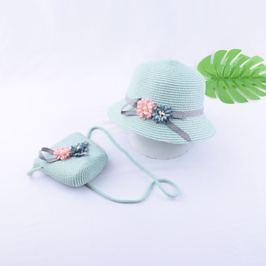 dc130cd3 Kids / Toddler Girls' Vintage / Active / Basic Solid Colored / Floral Bow /  Flower / Stylish Polyester Hats & Caps Beige / Light Green / Khaki One-Size